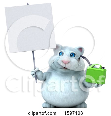Clipart of a 3d White Kitty Cat Holding a Gas Can, on a White Background - Royalty Free Illustration by Julos