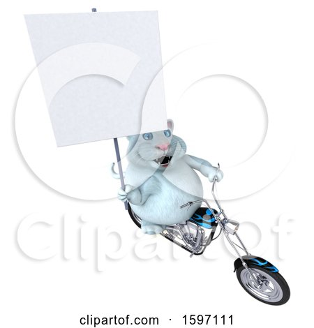 Clipart of a 3d White Kitty Cat Biker Riding a Chopper Motorcycle, on a White Background - Royalty Free Illustration by Julos