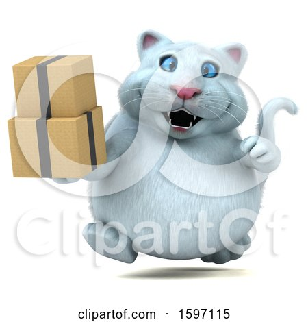 Clipart of a 3d White Kitty Cat Holding Boxes, on a White Background - Royalty Free Illustration by Julos