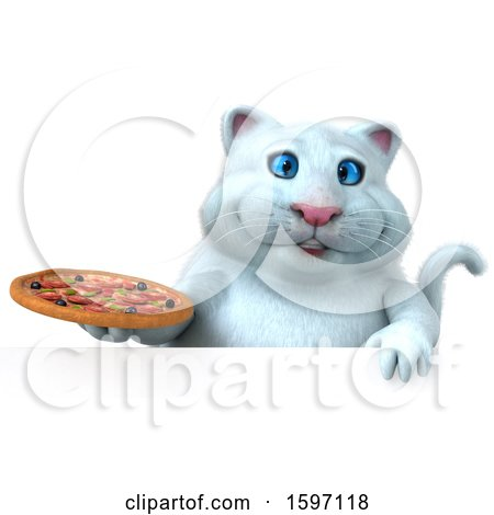Clipart of a 3d White Kitty Cat Holding a Pizza, on a White Background - Royalty Free Illustration by Julos