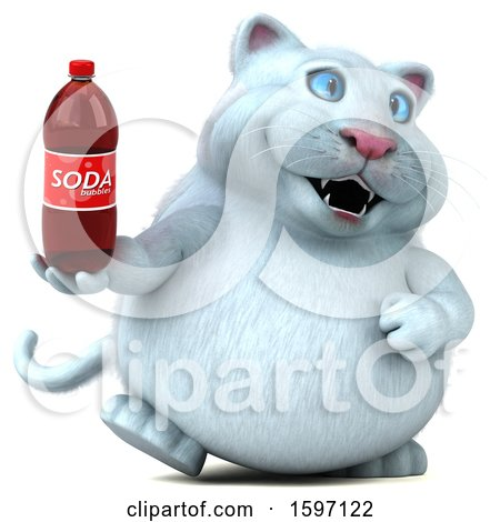 Clipart of a 3d White Kitty Cat Holding a Soda, on a White Background - Royalty Free Illustration by Julos