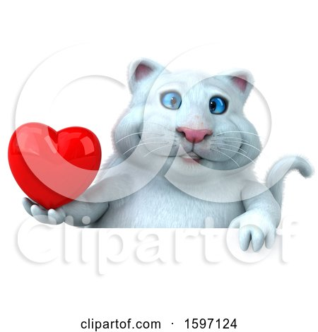 Clipart of a 3d White Kitty Cat Holding a Heart, on a White Background - Royalty Free Illustration by Julos