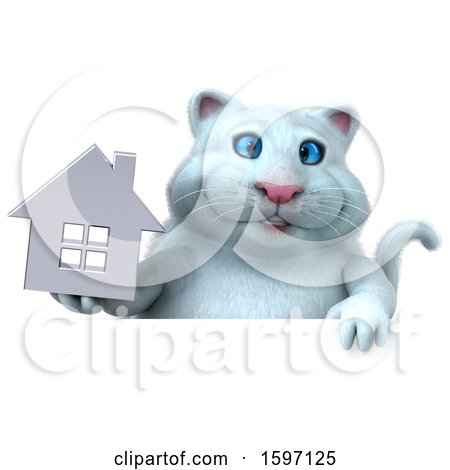 Clipart of a 3d White Kitty Cat Holding a House, on a White Background - Royalty Free Illustration by Julos
