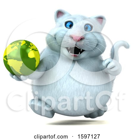 Clipart of a 3d White Kitty Cat Holding Globe, on a White Background - Royalty Free Illustration by Julos