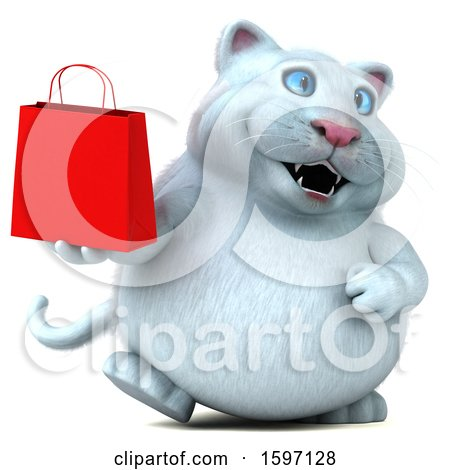 Clipart of a 3d White Kitty Cat Holding a Shopping Bag, on a White Background - Royalty Free Illustration by Julos