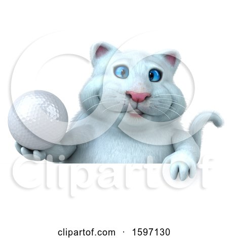 Clipart of a 3d White Kitty Cat Holding a Golf Ball, on a White Background - Royalty Free Illustration by Julos