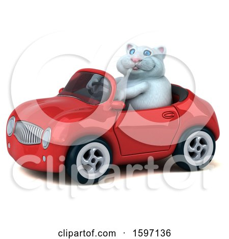 Clipart of a 3d White Kitty Cat Driving a Convertible, on a White Background - Royalty Free Illustration by Julos