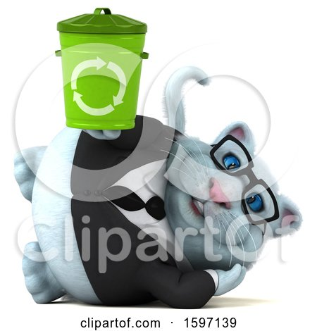 Clipart of a 3d White Business Kitty Cat Holding a Recycle Bin, on a White Background - Royalty Free Illustration by Julos