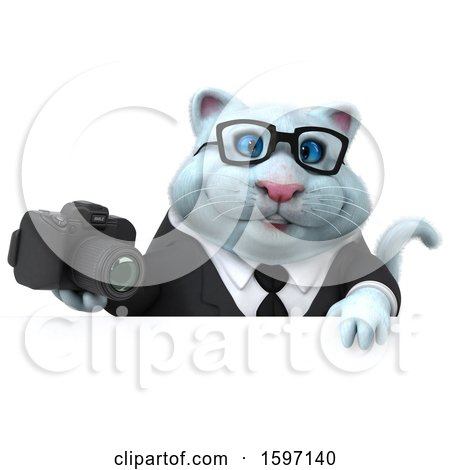 Clipart of a 3d White Business Kitty Cat Holding a Camera, on a White Background - Royalty Free Illustration by Julos