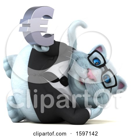 Clipart of a 3d White Business Kitty Cat Holding a Euro, on a White Background - Royalty Free Illustration by Julos