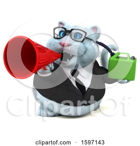 Clipart of a 3d White Business Kitty Cat Holding a Gas Can, on a White Background - Royalty Free Illustration by Julos
