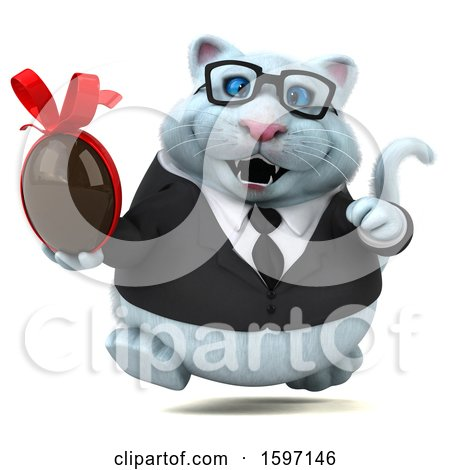 Clipart of a 3d White Business Kitty Cat Holding a Chocolate Egg, on a White Background - Royalty Free Illustration by Julos