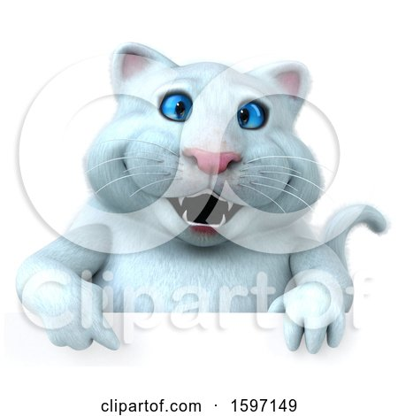 Clipart of a 3d White Kitty Cat, on a White Background - Royalty Free Illustration by Julos