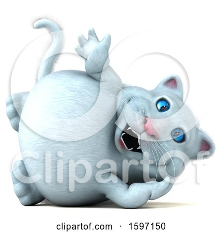 Clipart of a 3d White Kitty Cat Waving, on a White Background - Royalty Free Illustration by Julos