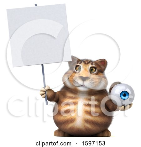 Clipart of a 3d Tabby Kitty Cat Holding an Eyeball, on a White Background - Royalty Free Illustration by Julos