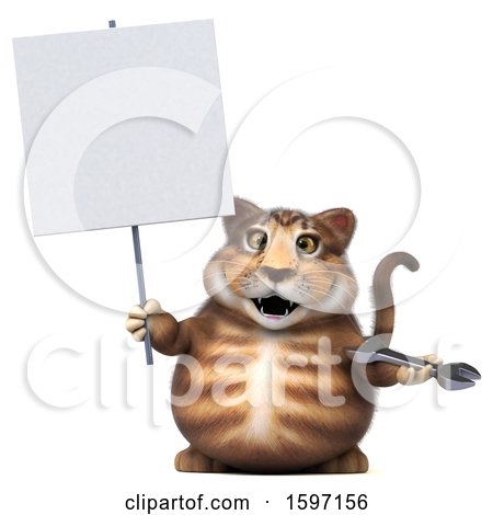 Clipart of a 3d Tabby Kitty Cat Holding a Wrench, on a White Background - Royalty Free Illustration by Julos