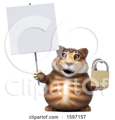 Clipart of a 3d Tabby Kitty Cat Holding a Padlock, on a White Background - Royalty Free Illustration by Julos