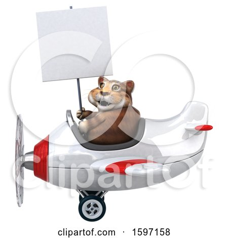Clipart of a 3d Tabby Kitty Cat Flying a Plane, on a White Background - Royalty Free Illustration by Julos