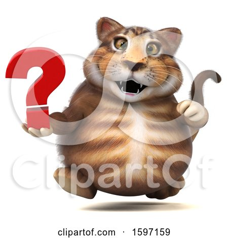Clipart of a 3d Tabby Kitty Cat Holding a Question Mark, on a White Background - Royalty Free Illustration by Julos