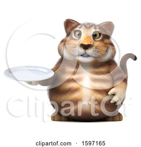 Clipart of a 3d Tabby Kitty Cat Holding a Plate, on a White Background - Royalty Free Illustration by Julos