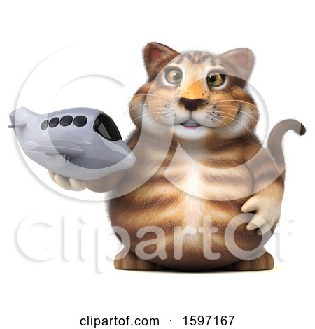 Clipart of a 3d Tabby Kitty Cat Holding a Plane, on a White Background - Royalty Free Illustration by Julos