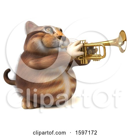 Clipart of a 3d Tabby Kitty Cat Playing a Trumpet, on a White Background - Royalty Free Illustration by Julos