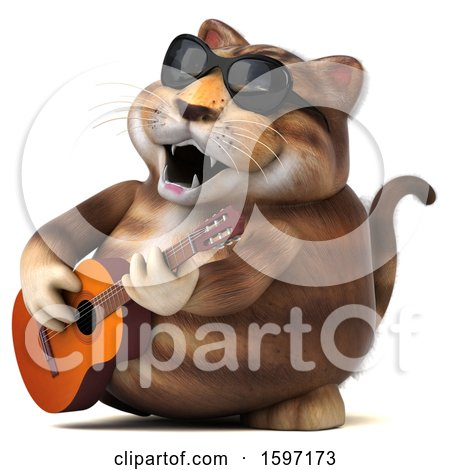 Clipart of a 3d Tabby Kitty Cat Playing a Guitar, on a White Background - Royalty Free Illustration by Julos