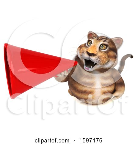 Clipart of a 3d Tabby Kitty Cat Holding a Megaphone, on a White Background - Royalty Free Illustration by Julos