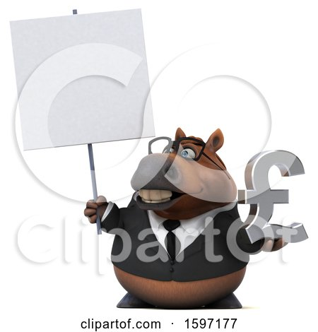 Clipart of a 3d Chubby Brown Business Horse Holding a Pound Currency Symbol, on a White Background - Royalty Free Illustration by Julos