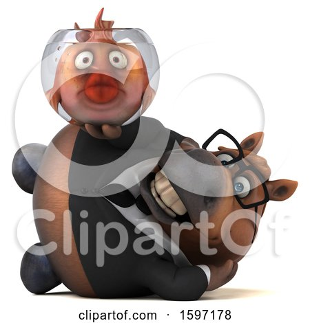 Clipart of a 3d Chubby Brown Business Horse Holding a Fish Bowl, on a White Background - Royalty Free Illustration by Julos