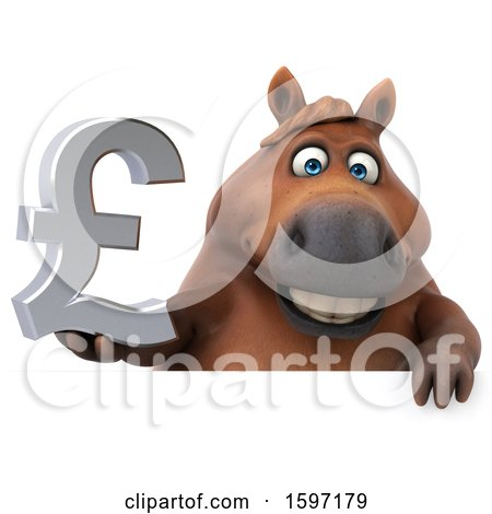 Clipart of a 3d Chubby Brown Horse Holding a Pound Currency Symbol, on a White Background - Royalty Free Illustration by Julos