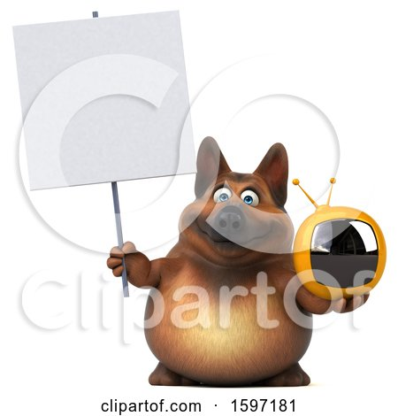 Clipart of a 3d German Shepherd Dog Holding a Tv, on a White Background - Royalty Free Illustration by Julos
