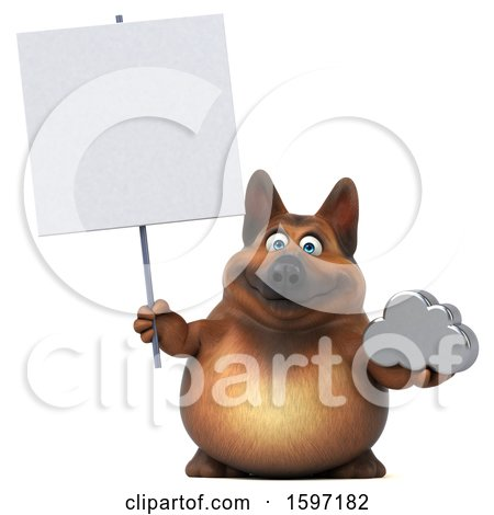 Clipart of a 3d German Shepherd Dog Holding a Cloud, on a White Background - Royalty Free Illustration by Julos