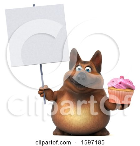 Clipart of a 3d German Shepherd Dog Holding a Cupcake, on a White Background - Royalty Free Illustration by Julos