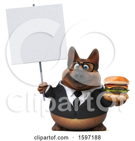 Clipart of a 3d Business German Shepherd Dog Holding a Burger, on a White Background - Royalty Free Illustration by Julos