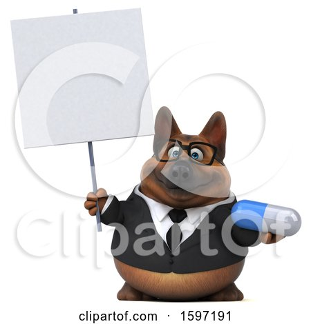 Clipart of a 3d Business German Shepherd Dog Holding a Pill, on a White Background - Royalty Free Illustration by Julos