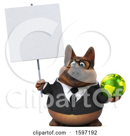 Clipart of a 3d Business German Shepherd Dog Holding a Globe, on a White Background - Royalty Free Illustration by Julos