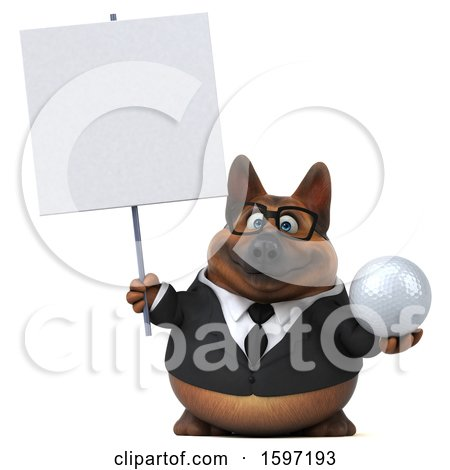 Clipart of a 3d Business German Shepherd Dog Holding a Golf Ball, on a White Background - Royalty Free Illustration by Julos