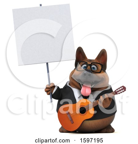 Clipart of a 3d Business German Shepherd Dog Holding a Guitar, on a White Background - Royalty Free Illustration by Julos