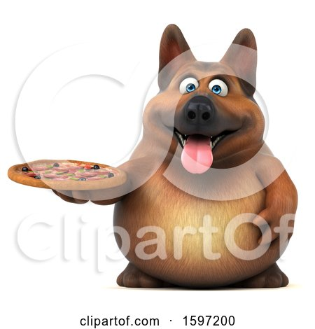 Clipart of a 3d German Shepherd Dog Holding a Pizza, on a White Background - Royalty Free Illustration by Julos