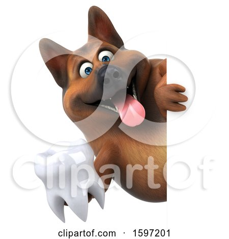 Clipart of a 3d German Shepherd Dog Holding a Tooth, on a White Background - Royalty Free Illustration by Julos