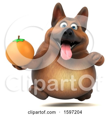 Clipart of a 3d German Shepherd Dog Holding an Orange, on a White Background - Royalty Free Illustration by Julos