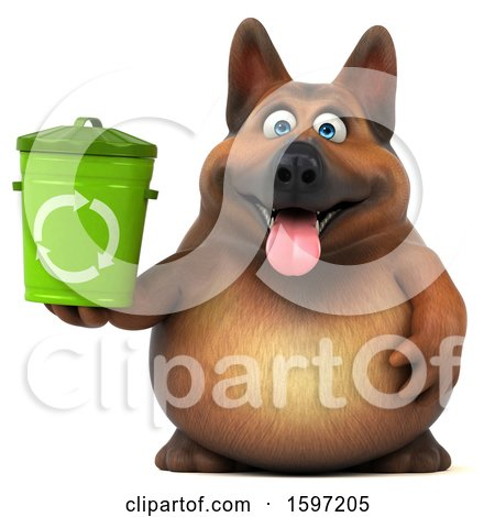 Clipart of a 3d German Shepherd Dog Holding a Recycle Bin, on a White Background - Royalty Free Illustration by Julos