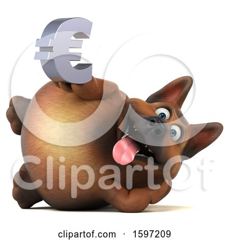 Clipart of a 3d German Shepherd Dog Holding a Euro, on a White Background - Royalty Free Illustration by Julos