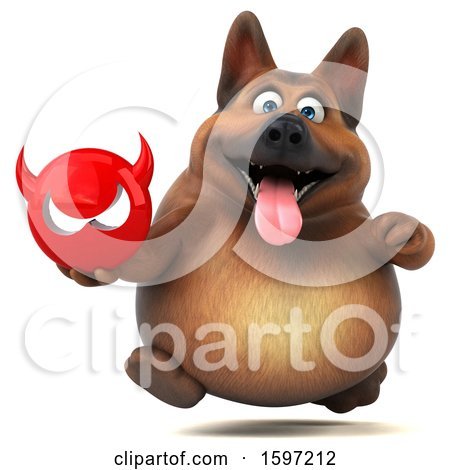 Clipart of a 3d German Shepherd Dog Holding a Devil, on a White Background - Royalty Free Illustration by Julos
