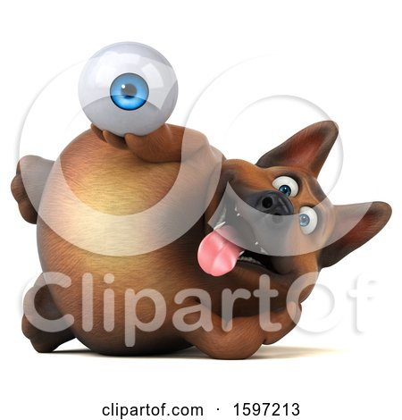 Clipart of a 3d German Shepherd Dog Holding an Eye, on a White Background - Royalty Free Illustration by Julos
