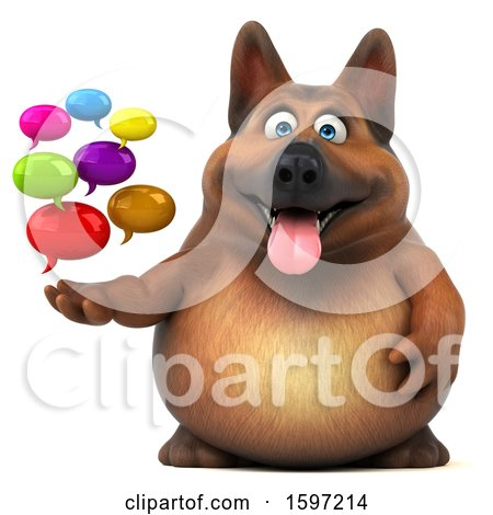 Clipart of a 3d German Shepherd Dog Holding Messages, on a White Background - Royalty Free Illustration by Julos
