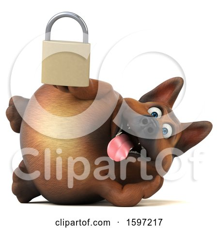Clipart of a 3d German Shepherd Dog Holding a Padlock, on a White Background - Royalty Free Illustration by Julos