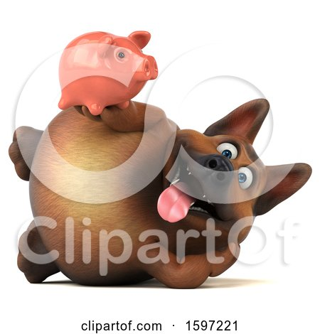 Clipart of a 3d German Shepherd Dog Holding a Piggy Bank, on a White Background - Royalty Free Illustration by Julos