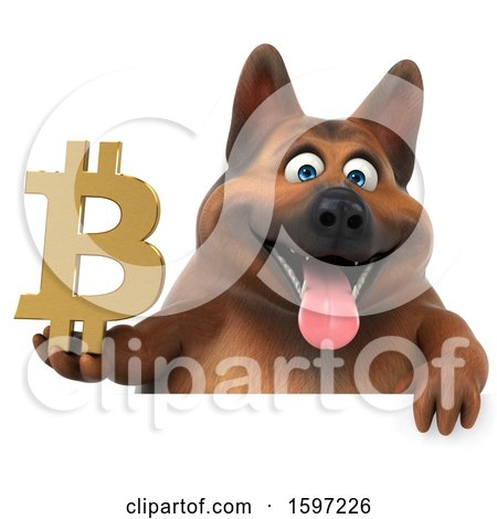 Clipart of a 3d German Shepherd Dog Holding a Bitcoin Symbol, on a White Background - Royalty Free Illustration by Julos